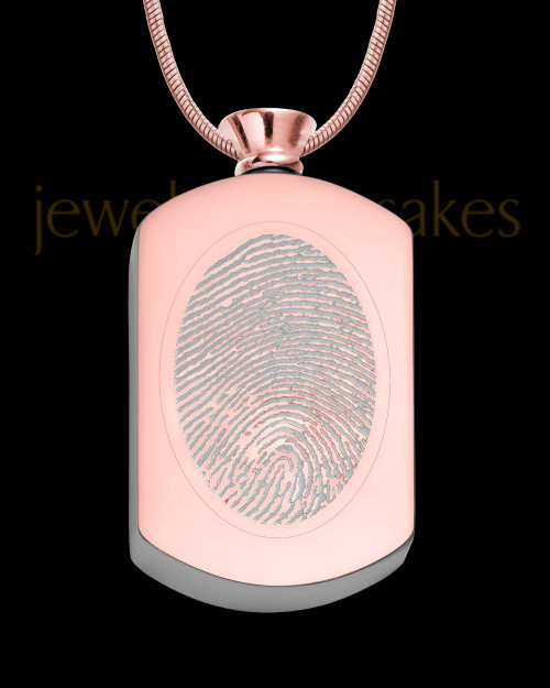 Rose Gold Plated Stainless Stunning Rectangle Thumbprint Pendant