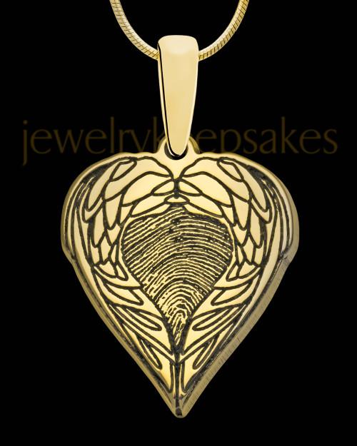 Solid 14K Gold Wings Thumbprint Pendant