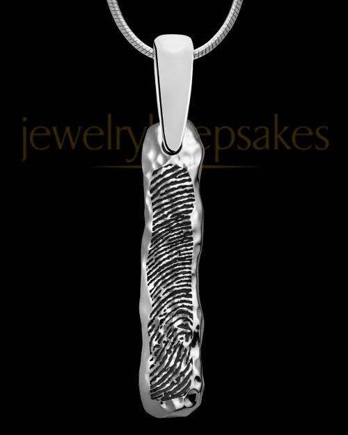 Solid 14K White Gold Textured Thumbprint Bar Pendant
