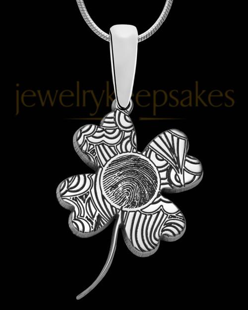 Solid 14K White Gold Four Leaf Clover Thumbprint Pendant