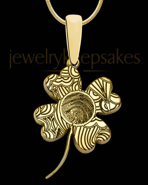 Solid 14K Gold Four Leaf Clover Thumbprint Pendant
