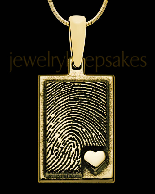 Solid 14K Gold Rectangle with Raised Thumbprint Pendant