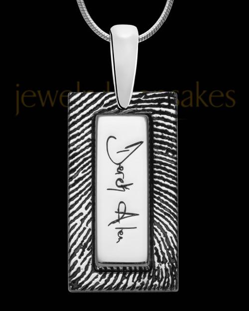 14K White Gold Rectangle Signature Thumbprint Pendant