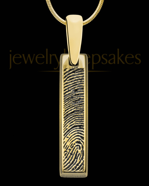 Solid 14K Gold Silver Small Bar Thumbprint Pendant with Signature on Back