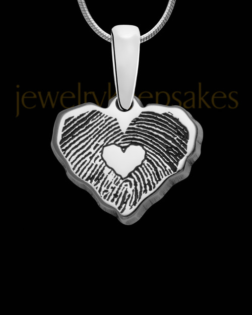 Solid 14K White Gold Cut Petite Heart Thumbprint Pendant with Signature on Back