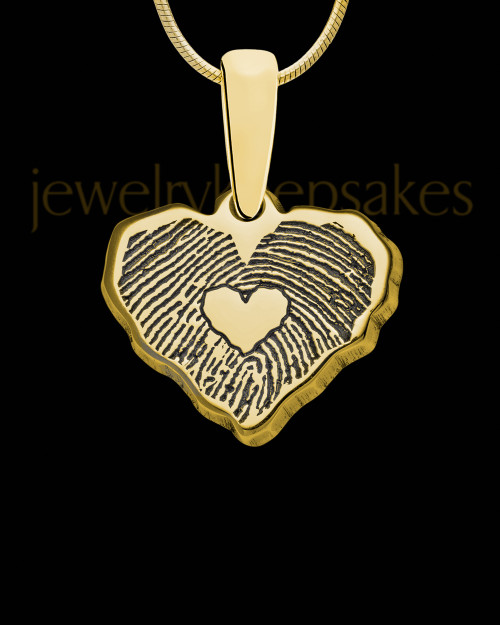 Solid 14K Gold Cut Petite Heart Thumbprint Pendant with Signature on Back