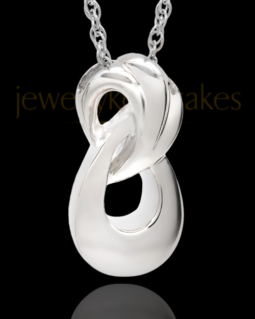 Solid 14K White Gold Cremation Ash Necklace Infinity Cremation Keepsake
