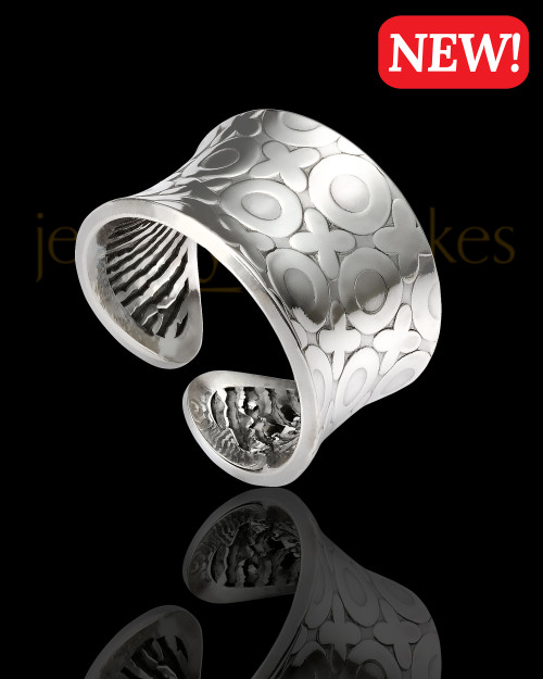 Sterling Silver Hugs and Kisses Thumbprint Ring