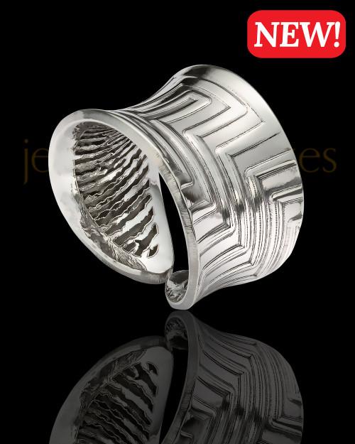 Sterling Silver Retro Thumbprint Ring