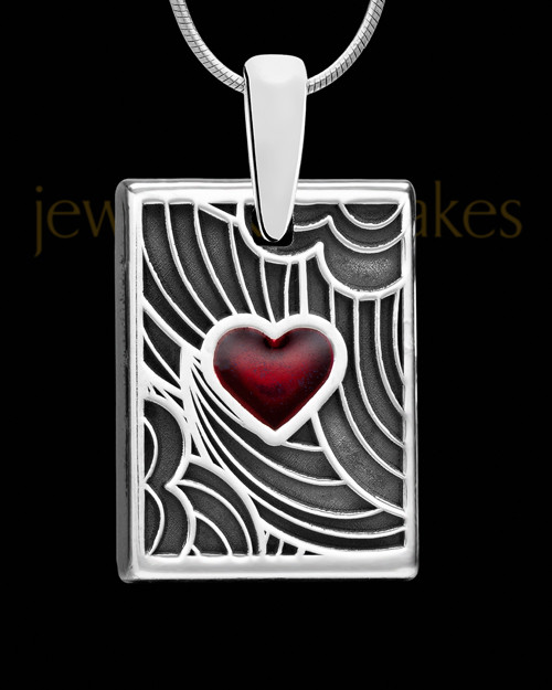 Solid 14K White Gold Red Boxed Heart Ash Jewelry