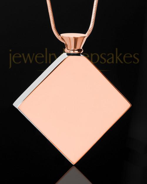 Stainless Rose Gold Beloved Diamond Cremation Keepsake