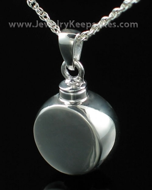 Cremation Necklace Sterling Silver Small Round Signet