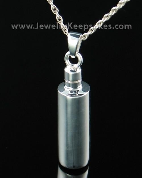 Memorial Urn Pendant Sterling Silver Plain Cylinder