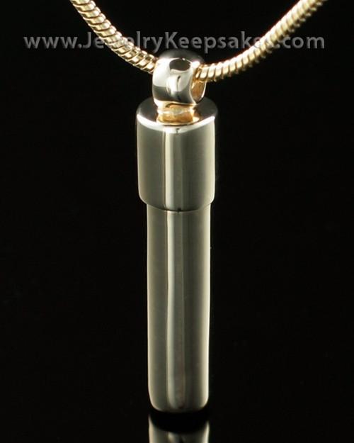 Ash Pendant 14K Gold Cylinder