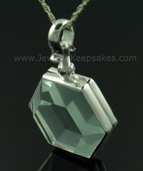 Locket Necklace Glass Octagon Memorial