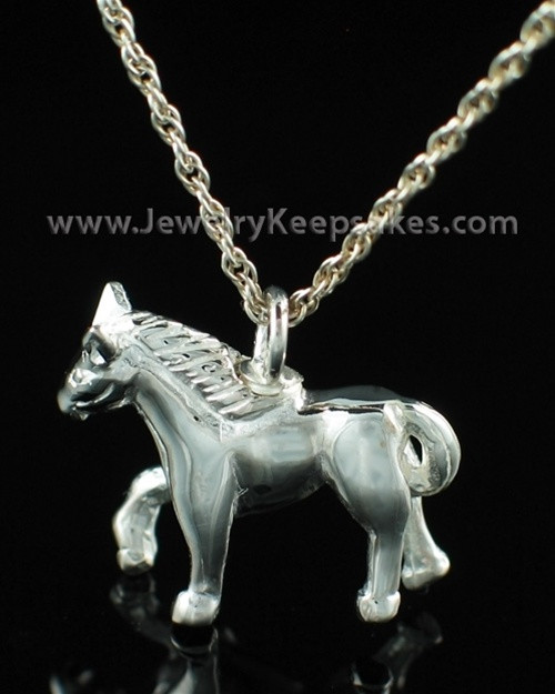 Cremation Pet Locket Sterling Silver Horse