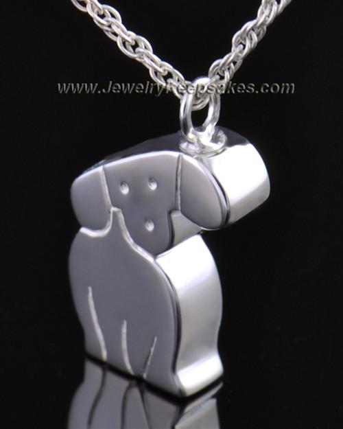 14k White Gold Cremation Urn Pet Necklace Best Friend Dog