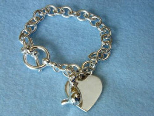 Sterling Silver Pet Urn Pendant Bracelet - Cat