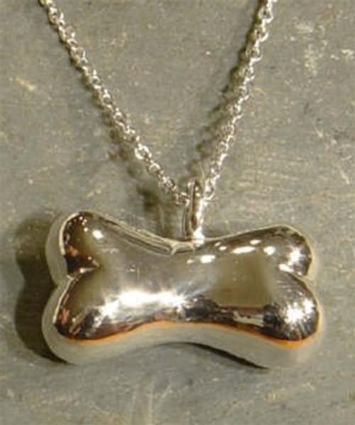 Cremation Pet Urn Pendant Sterling Silver Bone