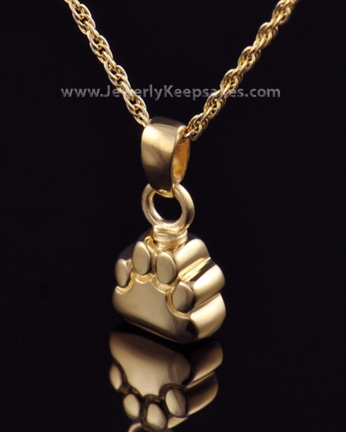 Pet Memorial Jewelry Gold Plated Paw