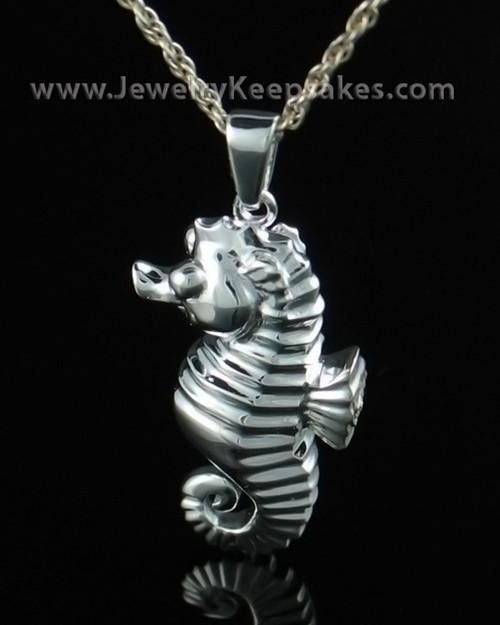 Remembrance Pendant Sterling Silver Seahorse
