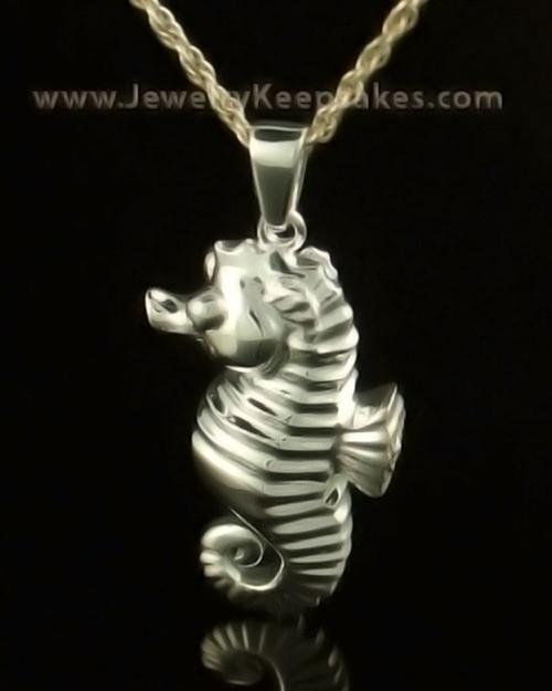 Remembrance Pendant 14 Karat White Gold Seahorse