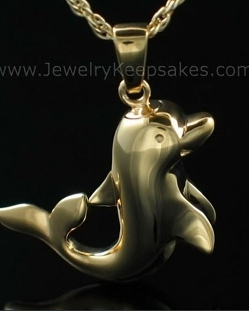 Cremation Charm Gold Plated Dolphin