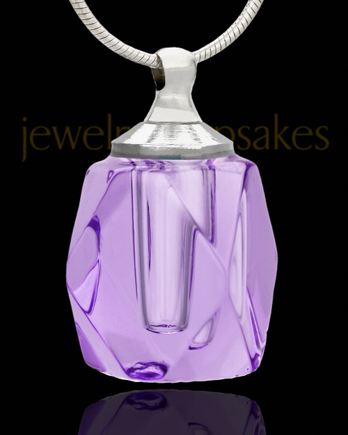 Cremation Charm Lavender Crystal Cube Glass Locket