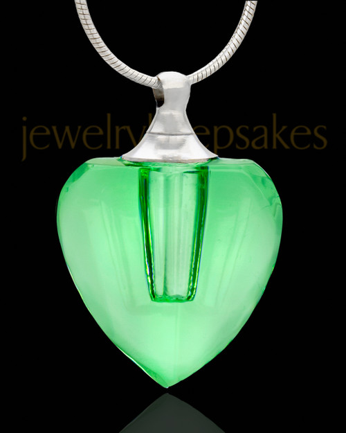 Cremation Jewelry Green Charmed Heart Glass Locket