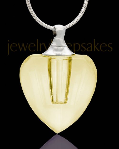 Cremation Necklace Golden Heart Glass Locket