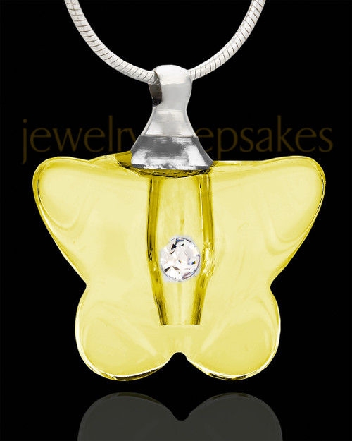 Memorial Keepsake Yellow Flurry Glass Locket