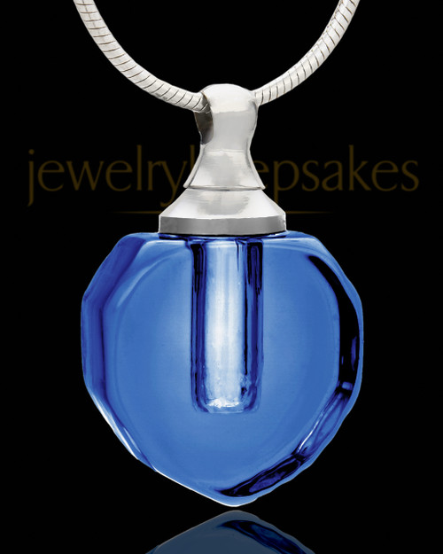 Cremains Jewelry Royal Blue Teardrop Glass Locket