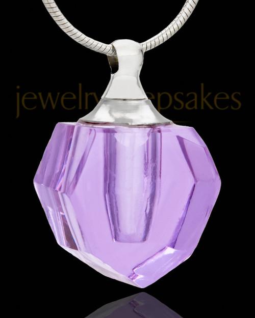 Urn Pendant Lavender Petite Teardrop Glass Locket