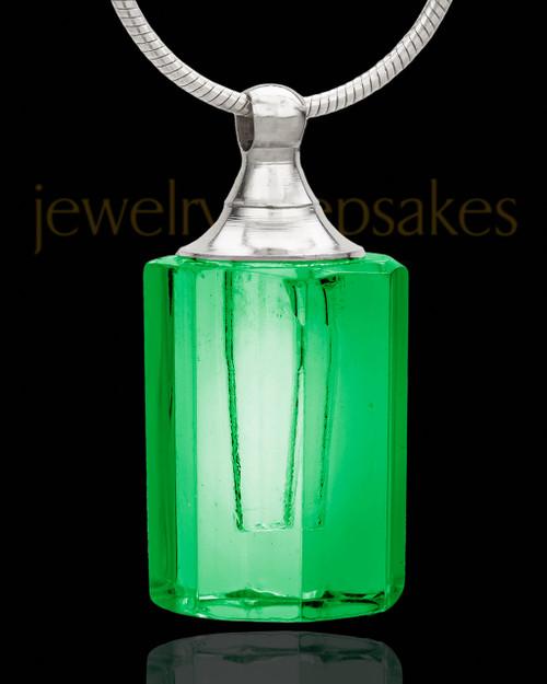 Remembrance Jewelry Green Sweetheart Glass Locket