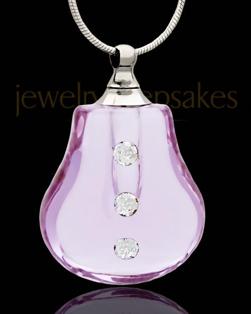 Cremation Necklace Lavender Sprinkle Glass Locket