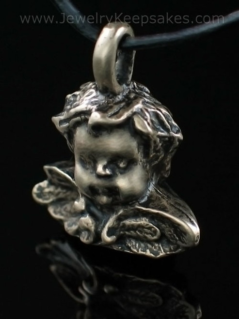 Cremation Urn Necklace Brass Cherub