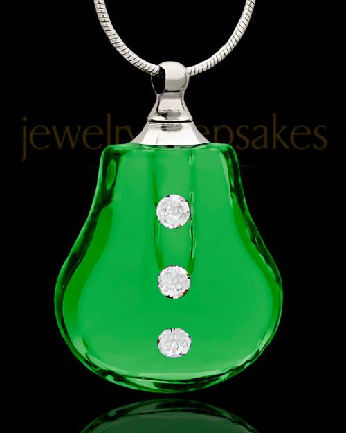 Pendant Keepsake Green Sprinkle Glass Locket