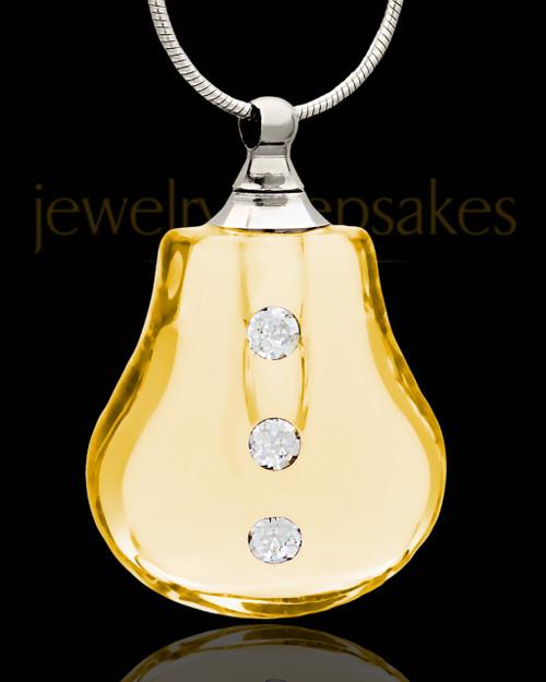 Cremation Charm Golden Sprinkle Glass Locket