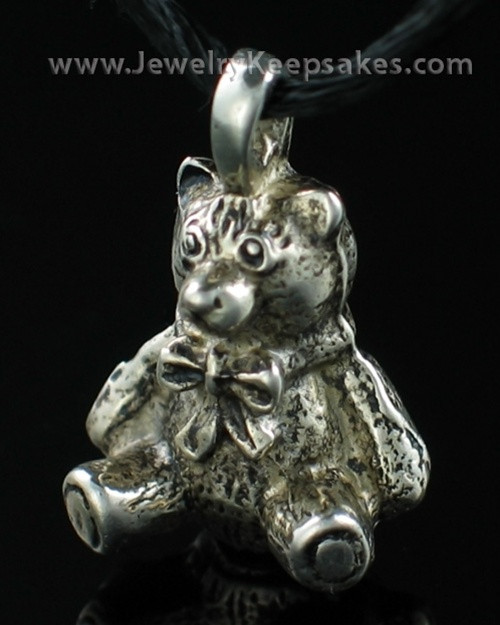 Cremains Jewelry White Bronze Plated Teddy Bear