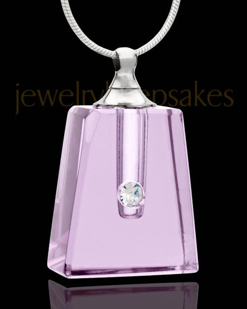 Memorial Necklace Lavender Reverence Glass Locket