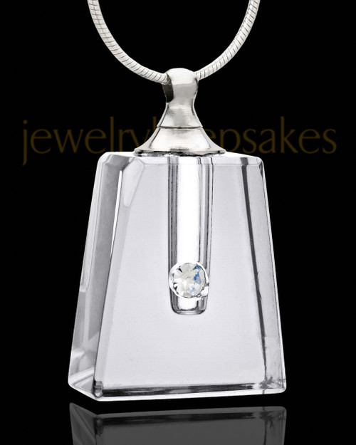 Cremation Locket Clear Reverence Glass Locket