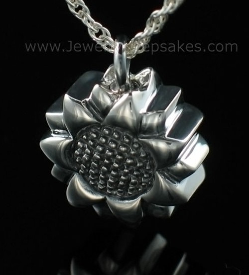 Keepsake Cremation Jewelry Sterling Silver Sunflower