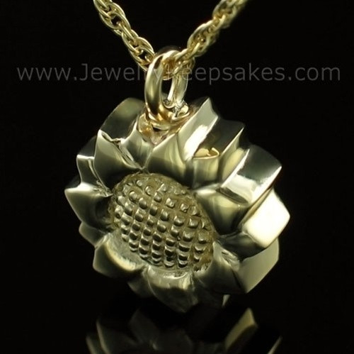 Keepsake Cremation Jewelry Gold Plated Sunflower