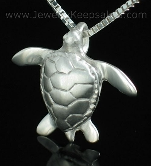 Memorial Keepsake Jewelry Sterling Silver Sea Turtle