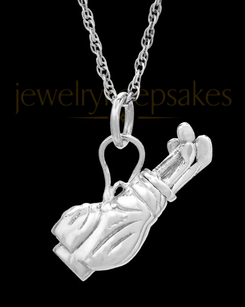 Memorial Urn Pendant Sterling Silver Golf Clubs