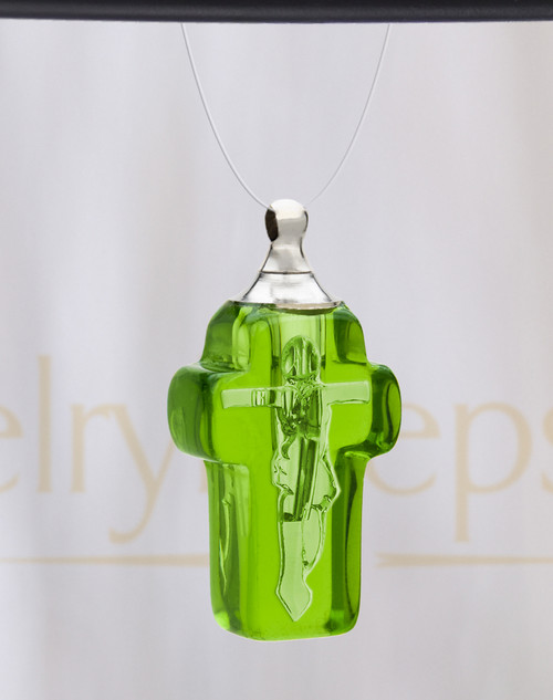 Green Faithful Cross Glass Reflection Pendant