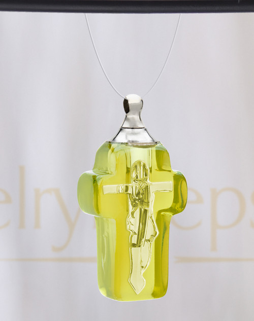 Golden Faithful Cross Glass Reflection Pendant