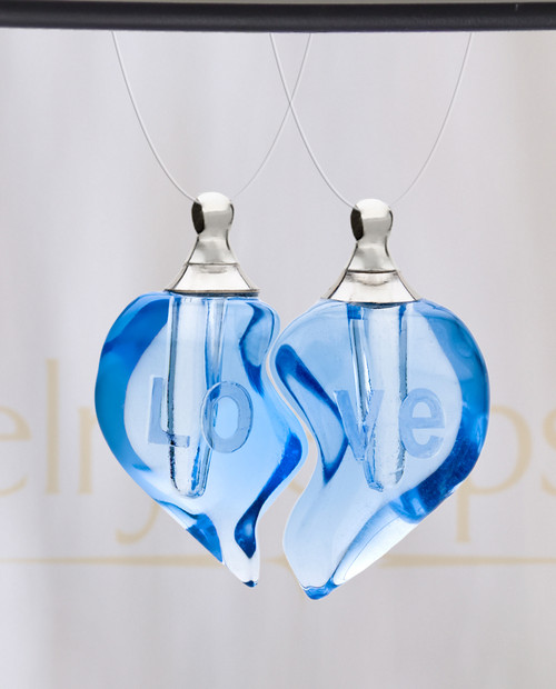 Tranquil Moments Double Hearts Glass Reflection Pendant