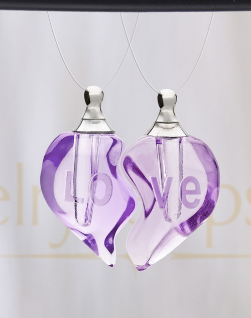 Violet Double Hearts Glass Reflection Pendant