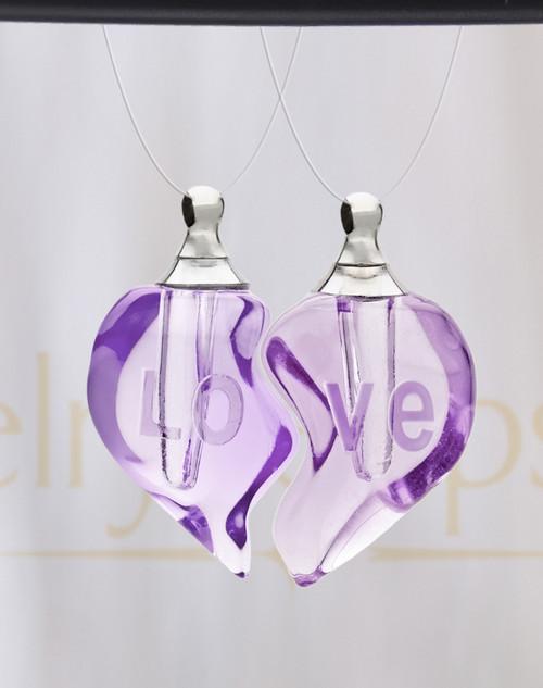 Violet Double Hearts Glass Reflection Pendant